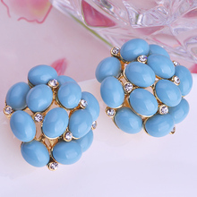 Brand Blue Turquoise Stud Earrings For Women Party Gifts White Opals Artificial Coral Material Earring Max Brincos Pendientes(China (Mainland))