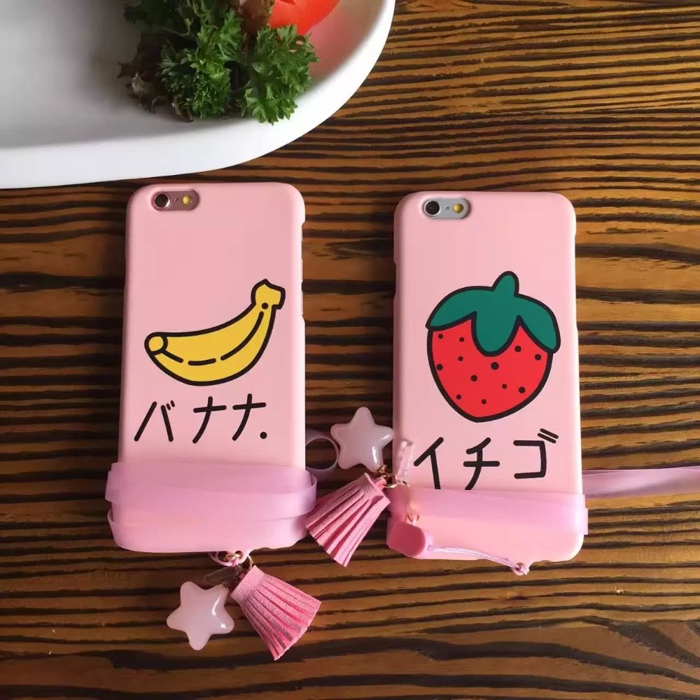 New Fashion Fruit Banana Strawberry luxury Cartoon case cover for apple iPhone6 6S Phone Cases, send mobile phone lanyard