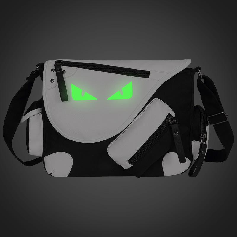 Fluorescent Monster Eye Print Shoulders Bag Unisex College Preppy Style Casual School Bags Canvas Messenger Bag Students(China (Mainland))