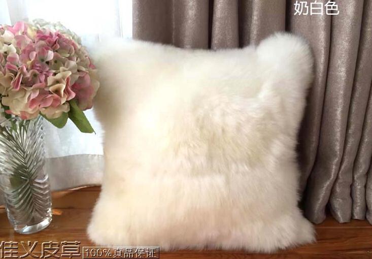 Sheepskin luxury fur cushion wool filled insert include inner pp cotton decorative throw pillow sofa(China (Mainland))
