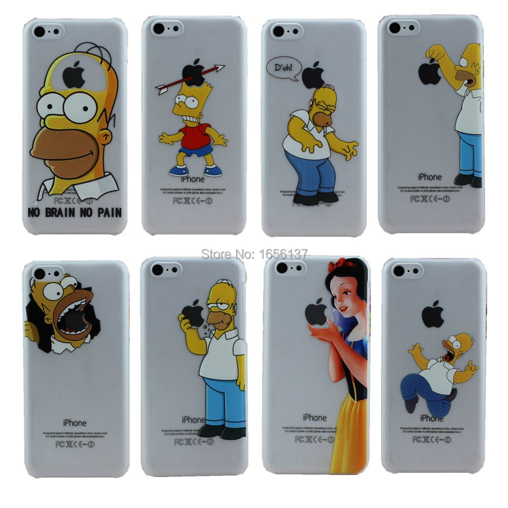 2015 New arrive For Apple i Phone iPhone 5C case Transparent Simpson Snow White Hand grasp the logo cell phone cases covers(China (Mainland))