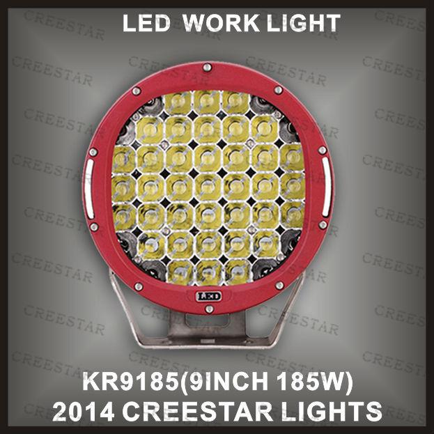 "2015 Newest led work light 185W high performance led driving lights 5W cree leds 9"" 12V Red & black led work lights KR9185(China (Mainland))"