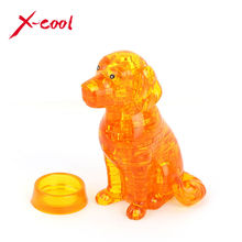 41pcs XC9039 DIY Puppy Dog 3D Crystal Puzzles animal assembled model birthday new year gift children play set toys for kids(China (Mainland))