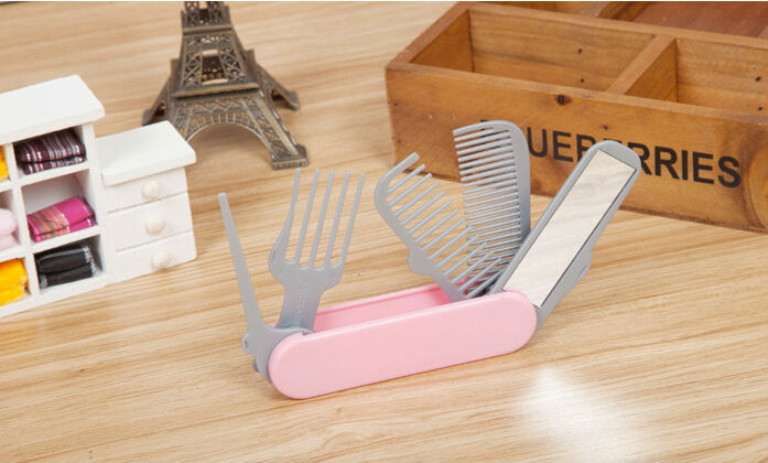 Fashion Portable Folding Combined 5 In 1 Multifunctional Comb Brush With Mirror Travel Makeup Comb Fashional Comb Free Shipping(China (Mainland))