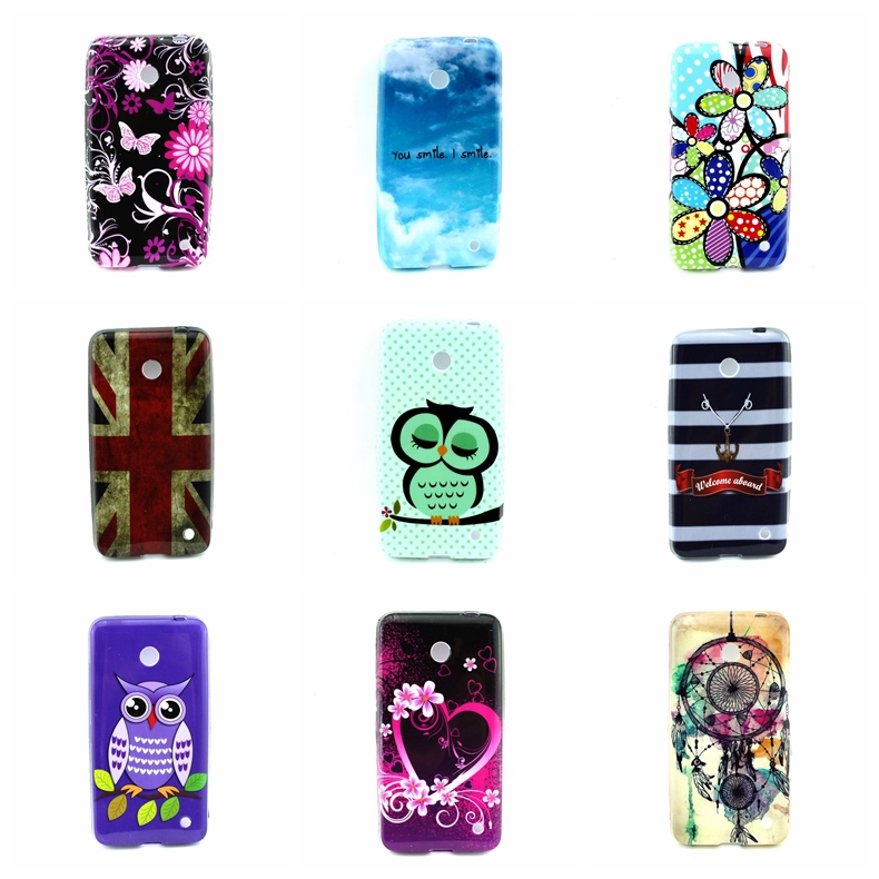 Cartoon Sleep Owl Family Flower UK USA Flag For Nokia Lumia 630 N630 Soft TPU Back Skin Phone Cases Cover Design High Quality(China (Mainland))