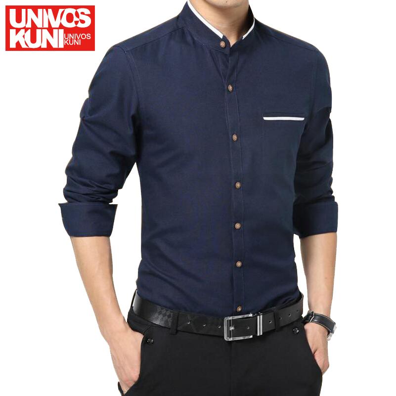 Brand 2016 New Men's Casual Shirt Long Sleeve Mandarin Collar Shirts Slim Dress Shirt For Men Business European Size Shirt L511(China (Mainland))