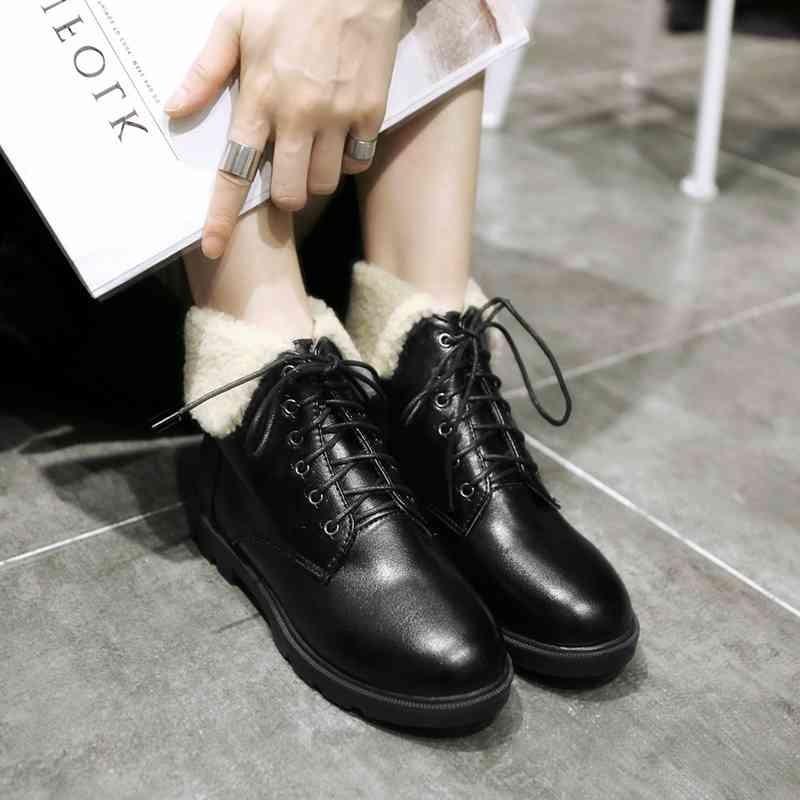 ซื้อ พลัสSize34-42 2016ใหม่เซ็กซี่ผู้หญิงมาร์ตินรองเท้าลูกไม้ขึ้นแฟลตขนรองเท้าผู้หญิงชุดสั้นฤดูหนาวหิมะรองเท้าSBT1925