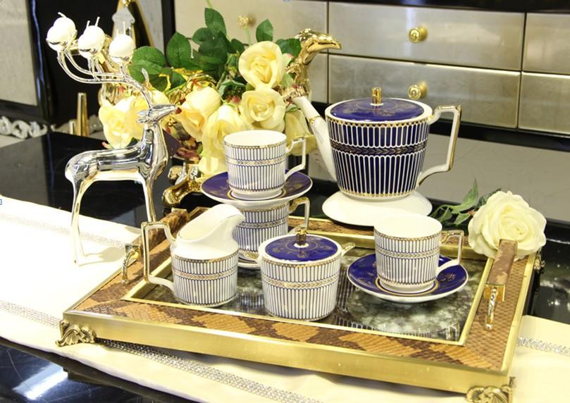 Blue coffee set afternoon tea set 4 coffee cup set