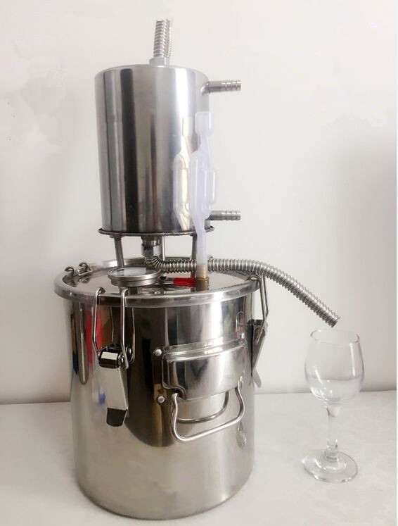 Free Shipping 2016 New Technology 10L/20L/35L Water Alcohol Distiller Hydrosol Machine Home Wine Brewing Device with Video(China (Mainland))