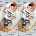 2017 Toddler Newborn Baby Girls Clothes Infant Romper Ruffles Flower Pants Outfit Set