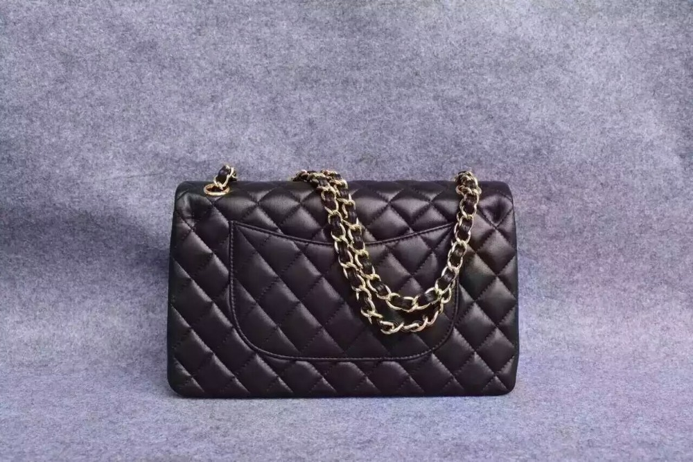 New 2016 Women Fashion Soft Lambskin Genuine Leather Quilted Handbags/Designer Gold Hardware Chain Shoulder Bags 25 cm/ black(China (Mainland))