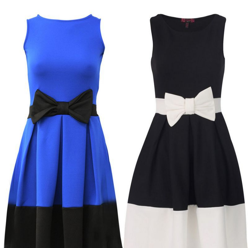 Elegant Women Bow-knot Sleeveless Dress Cocktail Party Pleated Patchwork Dresses(China (Mainland))