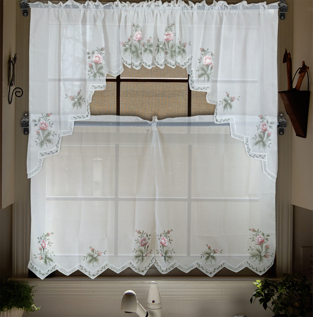 Embroidery Valance Sheer Short Tulle Window Curtains For Kitchen Bedroom Curtains Tier Set Panel