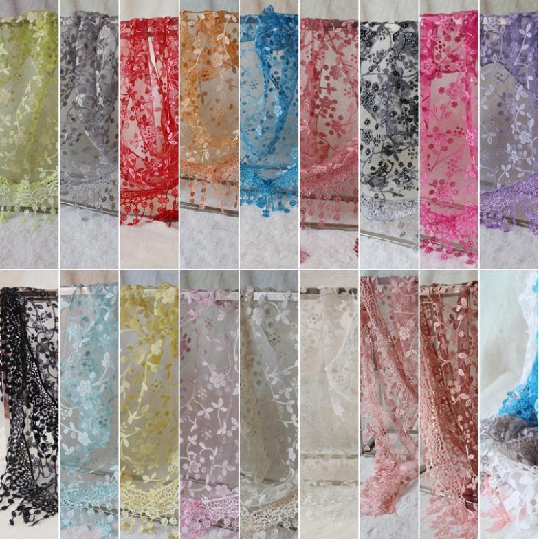 Lace Hollow Hook Floral Women Long Scarf Wrap Pashmina Shawl Large Silk Scarves # 65921(China (Mainland))