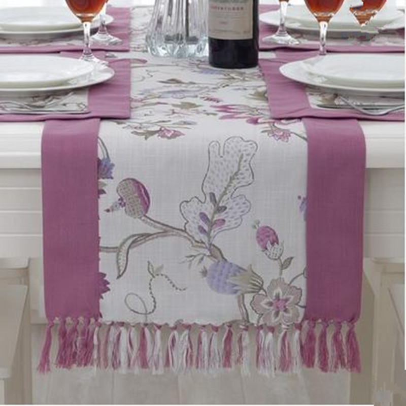 European Style Pastoral Floral Cotton&Linen Tassels Table Runner Home Decorative Tea Table Table Runner Purple ,Green(China (Mainland))