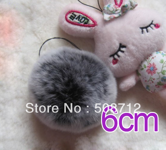 Free shipping!!!! 50pcs 6cm high-quality nature genuine rex rabbit fur ball fit Cell Phone Pendant key Chain or hair pom pom<br><br>Aliexpress