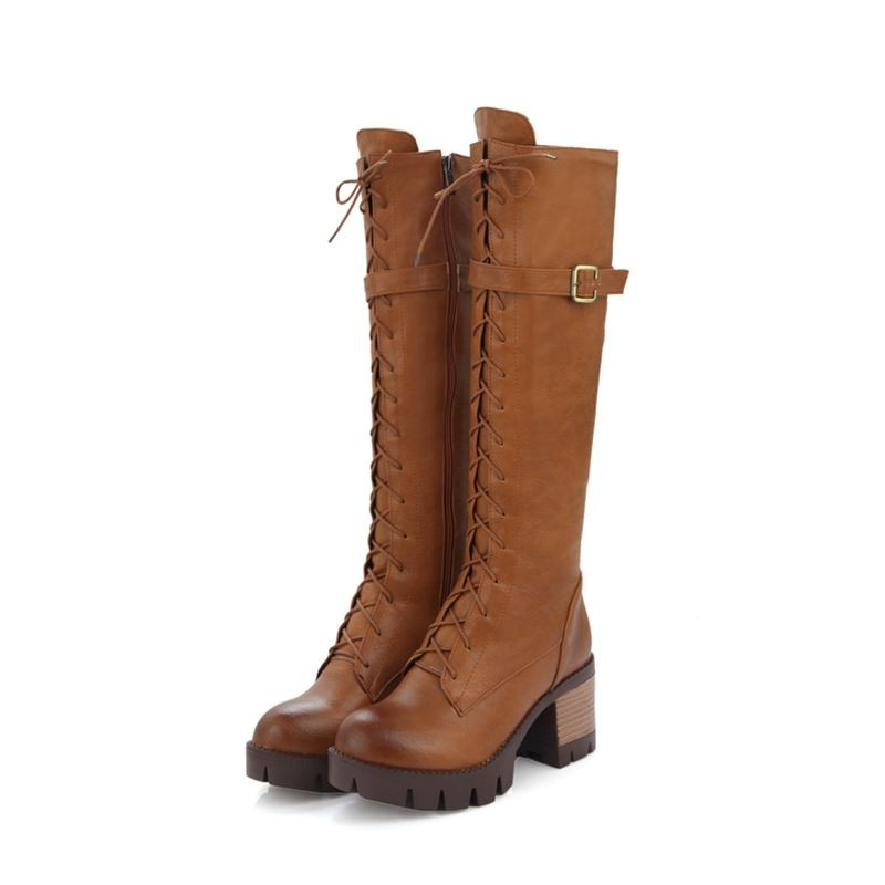 large size 34-43 2017 new winter warm fashion lace up mid calf boots med heel round toe platform martin women shoes