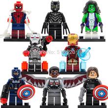 Marvel Super Heroes Captain America 3 Civil War Minifigures Falcon/Spider-Man Building Block 8pcs/lot Set Models Figures Toys