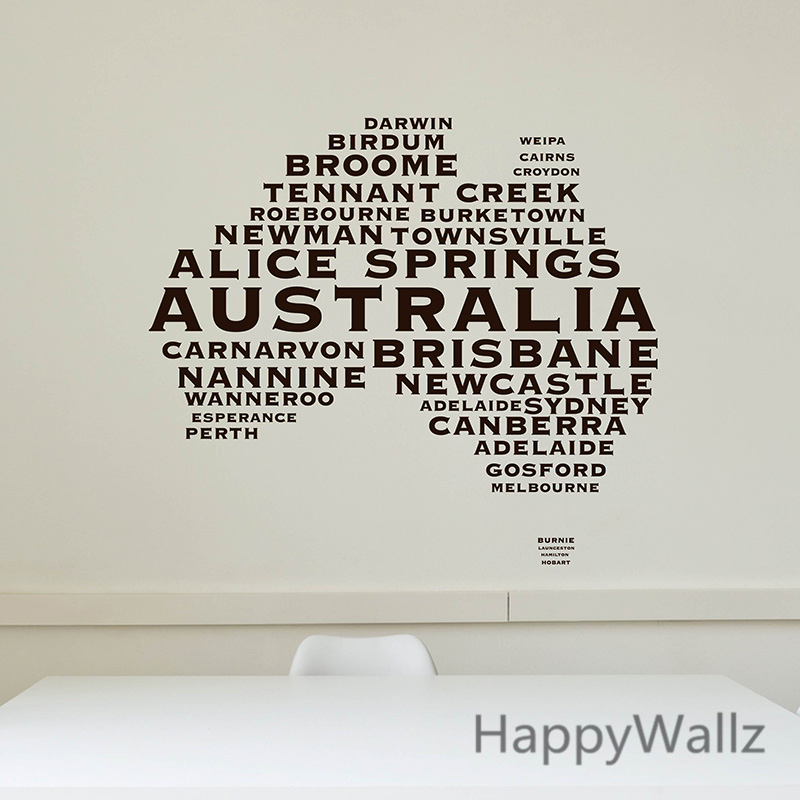 Australian map wall sticker map of australia wall decal 3d modern map wallpaper decorating Home decor wall decor australia