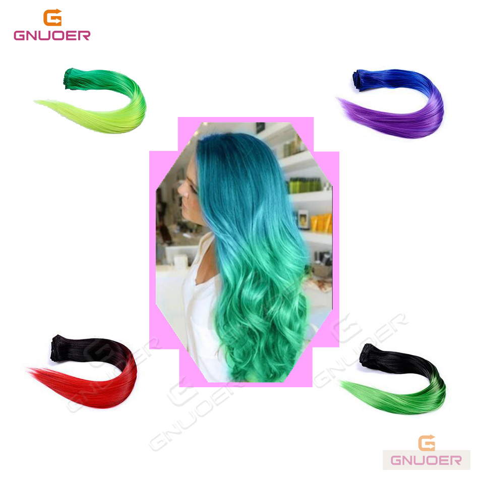 Fashion extension wigs ombre color straight heat resistant fiber clip on hair extended hair piece for women girl 60715(China (Mainland))