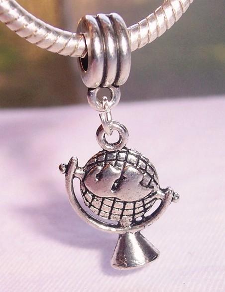 MIC Antique Silver Globe Map World Earth Charm Pendants 33.5 mm x 15 mm Jewelry DIY (ab340)(China (Mainland))