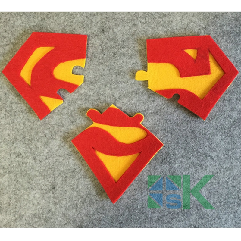 10pcs/lot Superman Logo Puzzle Coasters Kitchen Accesories Felt fabric Cup Mat Cartoon Table Decor for Coffee Drink Placemat(China (Mainland))