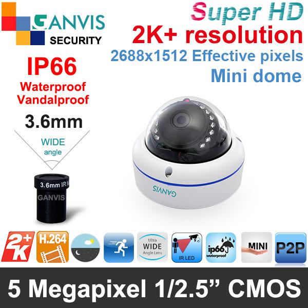 2K + HD 5mp mini IP camera vandalproof dome IP66 rate P2P Network video surveillance camera, CMOS sensor HD video GANVIS GV-T554(Hong Kong)