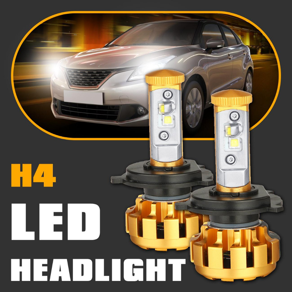 2x Yellow H4 80W CREE LED Headlight 7200LM 6000K Hi-Lo Beam Car Headlights Head Lamp Fog Light Bulb DRL Driving 12V for Jeep(China (Mainland))