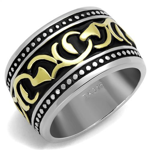 Jewelry men gold and black stainless steel rings jewelry 316L rings for men 316 ring 2016 Wholesale men jewelry 2 tone plate(China (Mainland))