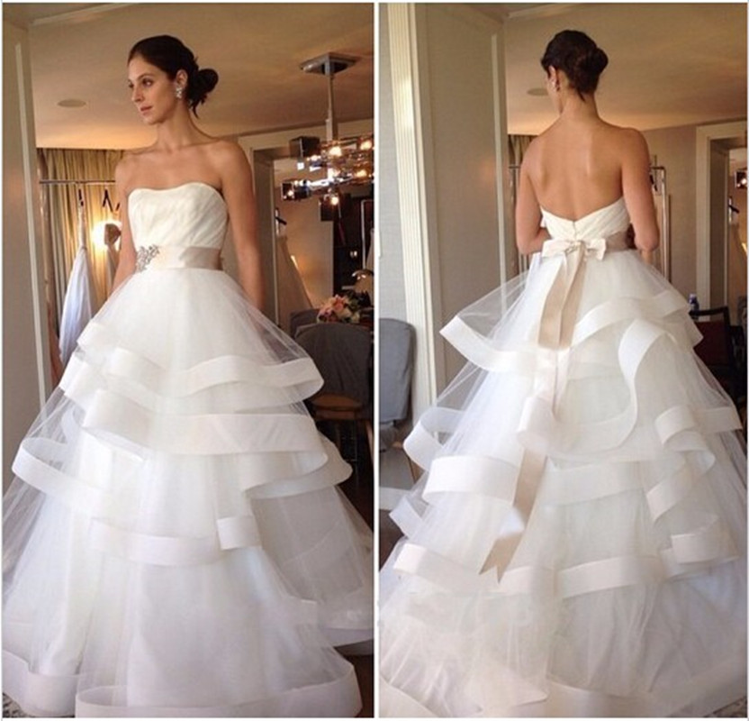 Vintage 2016 new white strapless tulle layered skirt for Tulle layered wedding dress