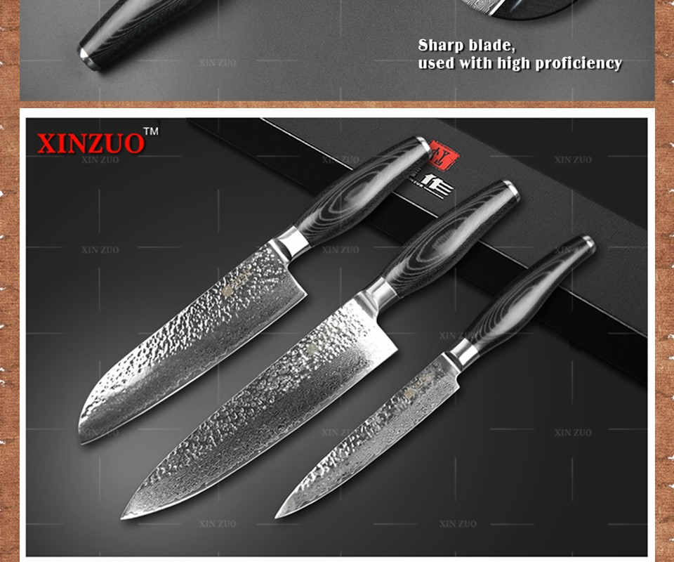 Buy XINZUO 3 pcs kitchen knife set Damascus kitchen knife high quality Japanese VG10 santoku chef  knife kitchen tool free shipping cheap