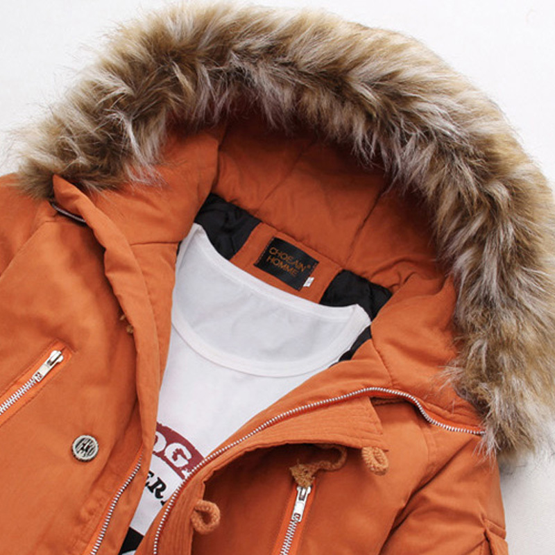 Parka Men Fur Hood Thick Long Winter Jacket Men Pocket Man Cotton Wadded Winter Coat Men