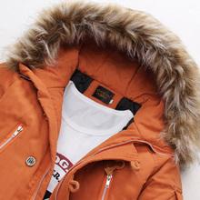 Parka Men Fur Hood Thick Long Winter Jacket Men Pocket Man Cotton Wadded Winter Coat Men