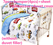 Promotion! 6PCS baby bedding set curtain crib bumper baby cot sets baby bed ,include (bumpers+sheet+pillowcase)