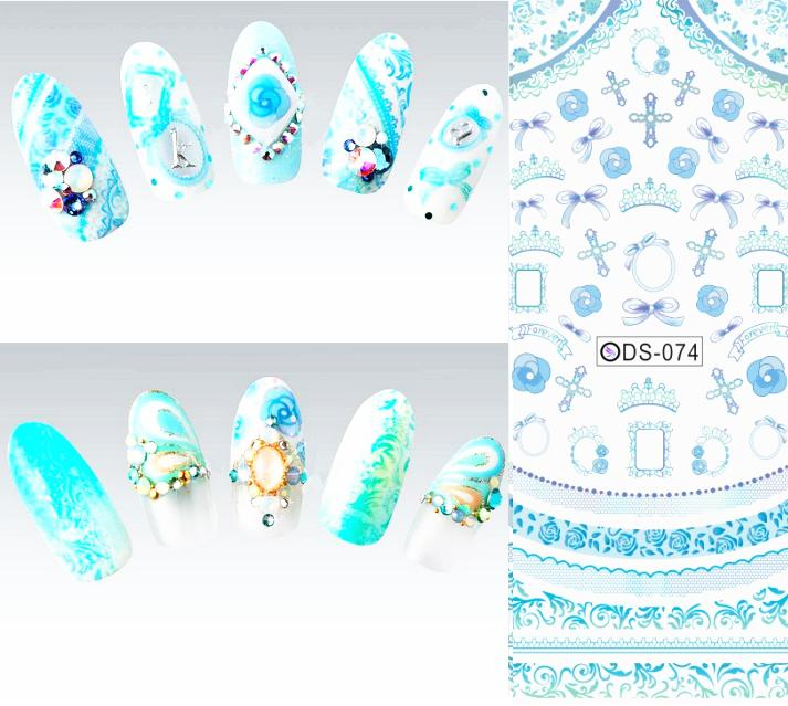 DS074 2015 Nail Design Water Transfer Nails Art Sticker Blue Cross Ring Nail Wraps Sticker Watermark Fingernails Decals(China (Mainland))