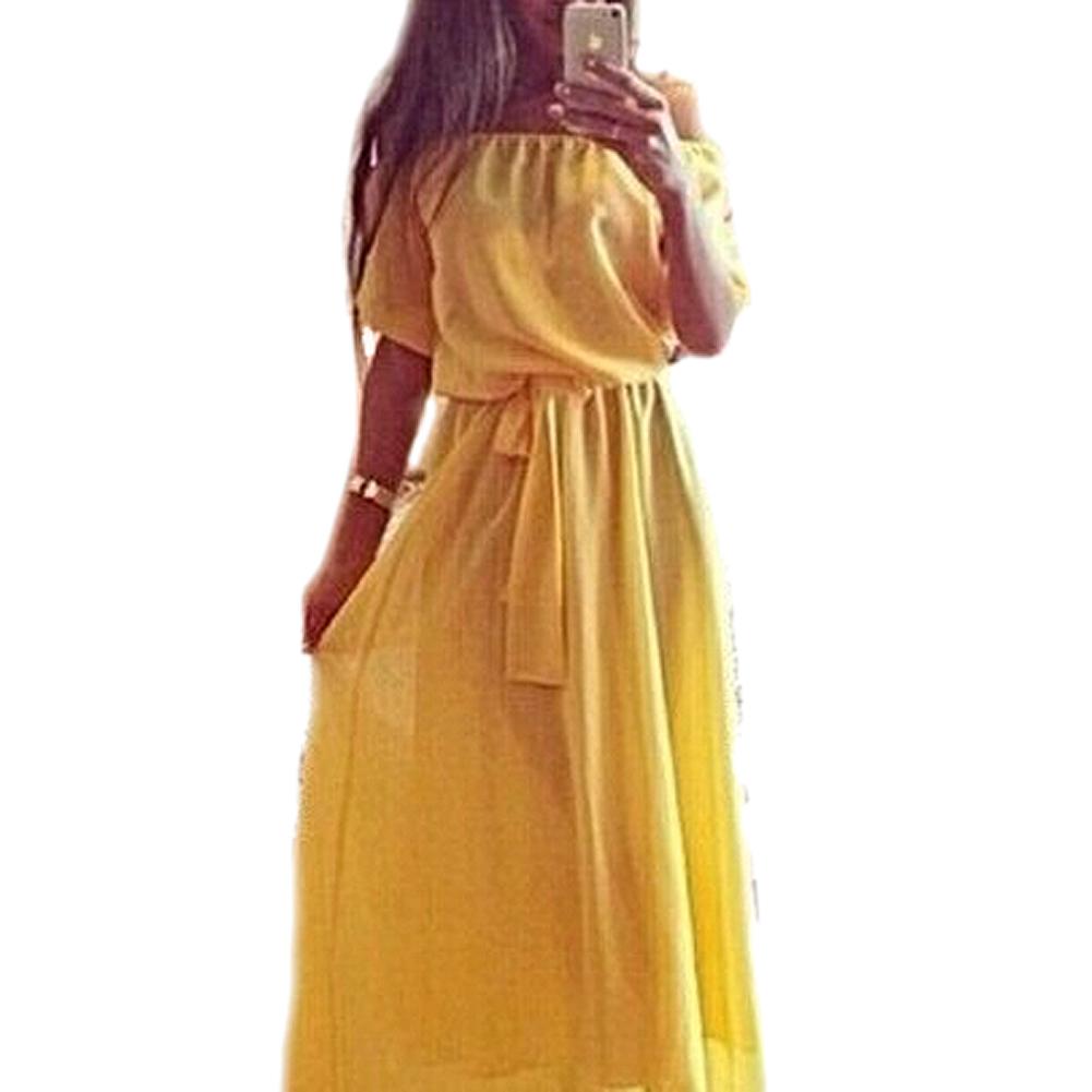 Women Clothing Long Dress Strapless Bohemian Chiffon Women Maxi Dress Tube Dress Yellow XL(China (Mainland))