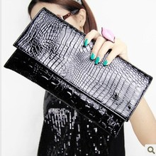 New European and American fashion simple style shoulder bag Envelope bag purse crocodile clutch evening bags Free shipping