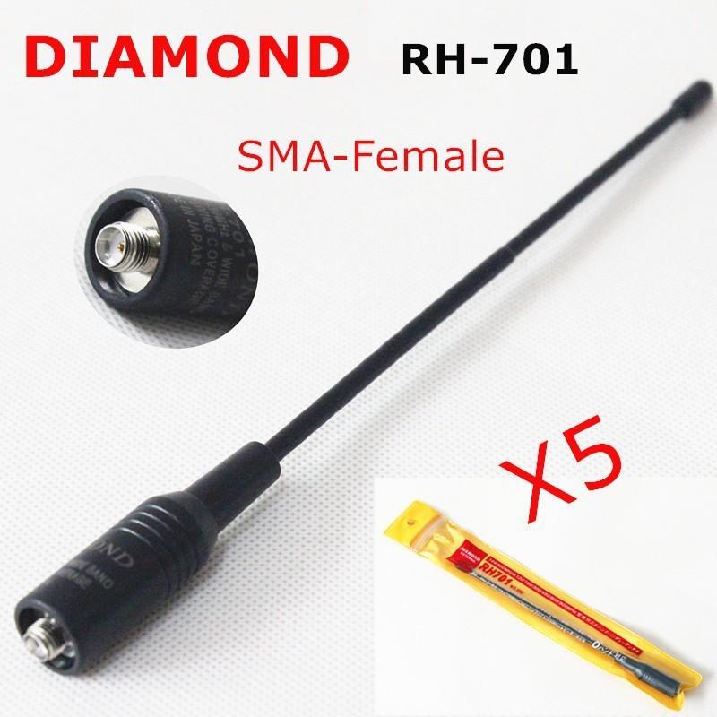 5PCS/LOT Diamond RH-701 Dual Band Antenna RH 701 SMA-Female for BAOFENG UV-5R UV-B6 UV-B5 TG-K4AT TG-UV2 TK 3207 VEV-3288 Radio(China (Mainland))