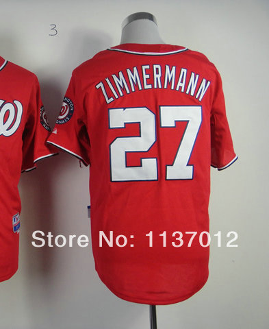 Authentic American Men's Baseball Jersey #27 Jordan Zimmermann Red Cool Base Baseball Jerseys 48-56 Embroidery name and number(China (Mainland))