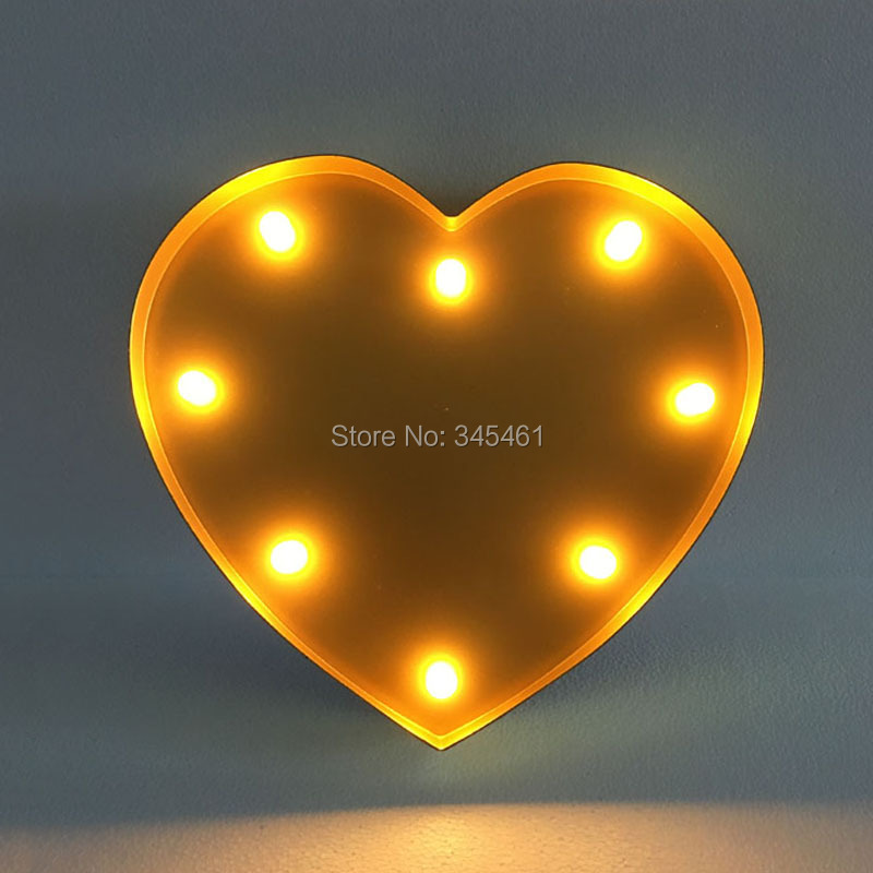 HEART shape Marqueen letter led lights, Height 33cm(12)  Thickness 4.8cm, White/Black/Red ABS Advertisement Signs Battery lamp<br><br>Aliexpress