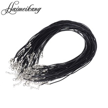 50pcs/lot Black Real Leather Necklace Leather Cords 14-30'' 2mm With Lobster Clasp DIY Jewelry Findings(China (Mainland))