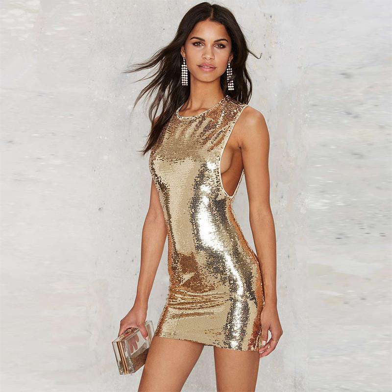 Women Summer European Temperament Sleeveless Paillette Sexy Slim Dress Gold Sequins Party Dresses Plus Size S To XXL(China (Mainland))