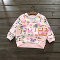 2017 Autumn Winter New Cartoon Scrawling Baby Girls Print Brushed Hoodies Sweatershirts Kids O neck Pullover