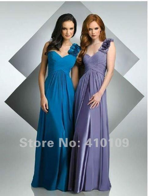 Free Shipping  Flower at One Shoulder Chiffon Floor Length Bridemaid Dress&Evening Dress