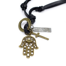 Retro men women genuine leather rope necklace long Good luck crown male leather cord necklace male pendant necklace male Jewelry