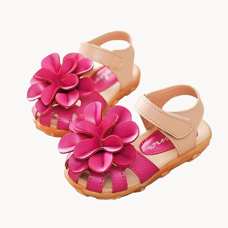 2015 Summer Style Kids Shoes Girls Leather Sandals Children Casual Floral Beach Sandals Girl Shoes 5 Colors Size 21-30(China (Mainland))