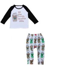 #15# Baby Boys Cute Coffee Cups Clothing Sets Boy Cotton Spring Suits Long Sleeve T Shirt+Pants Kids Tshirts Pants(China (Mainland))