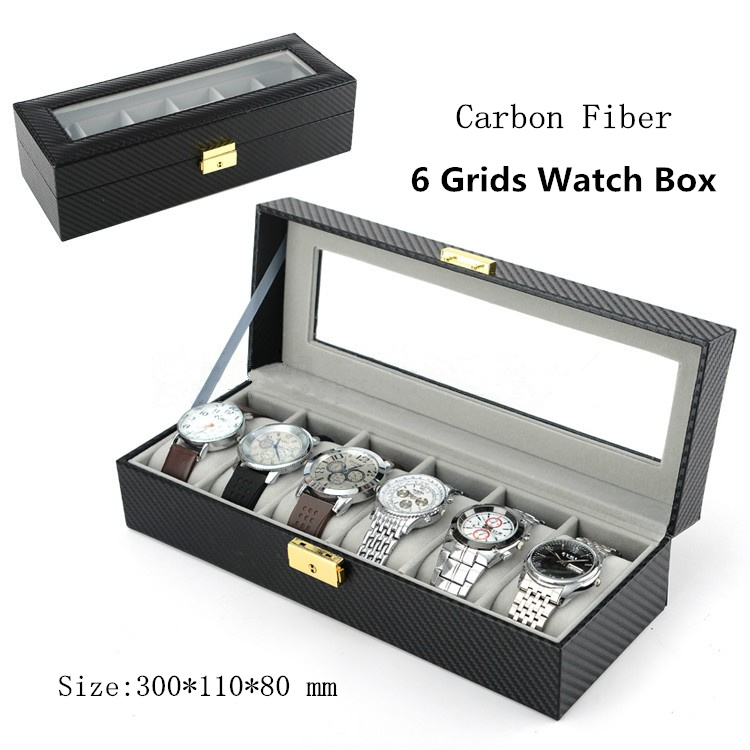Carbon Fiber 6 Grids Brand Watch Box With Key Black Leather Watch Display Box High Quanlity Luxury Watch Storage Gift Boxes A185(China (Mainland))