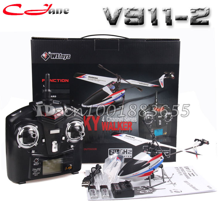 Free shipping Upgrade V911-2 2.4G 4CH RC MINI Helicopter Outdoor V911 new version Plug With 2 Batteries for WL Toys Gifts(China (Mainland))