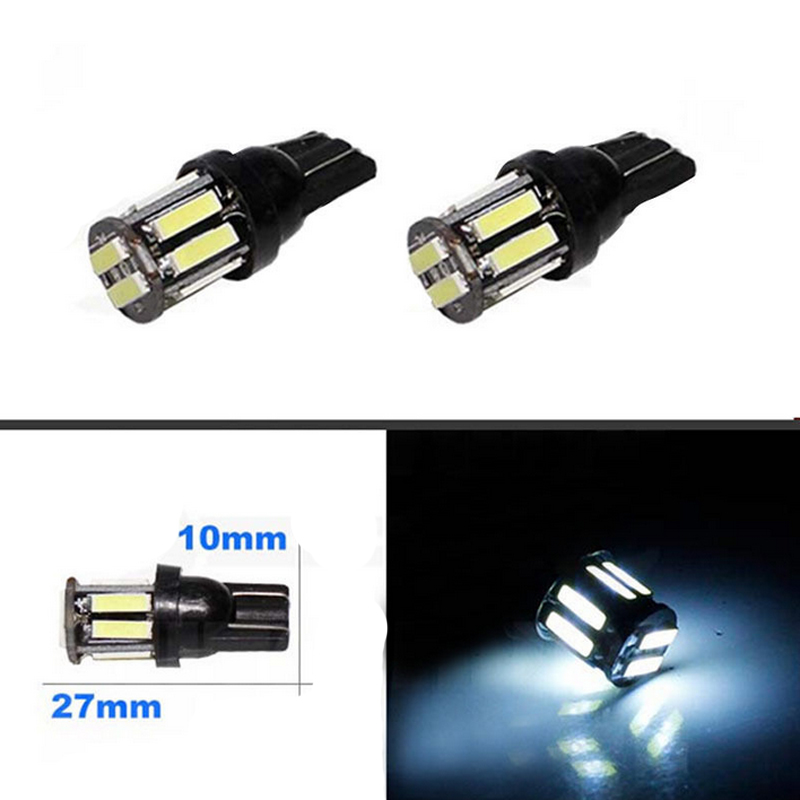 4PCS/Lot Super Bright 7014 7020 10SMD T10 W5W Xenon LED Interior Dome Map License Plate Parking Light White Free Shipping(China (Mainland))